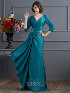 A-Line V-neck Beading 3/4 Sleeves Floor-Length Chiffon Dress