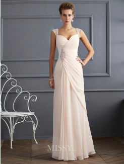 Sheath Straps Beading Sleeveless Floor-Length Chiffon Dress