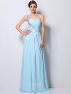 A-Line One-Shoulder Beading Sweep/Brush Train Chiffon Dress