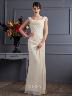 Sheath Sleeveless Scoop Beading Floor-Length Chiffon Dress