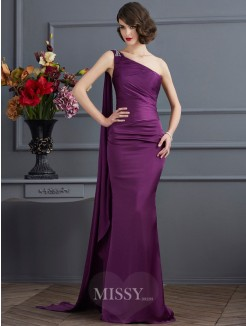 Sheath One-Shoulder Sleeveless Sweep/Brush Train Chiffon Dress