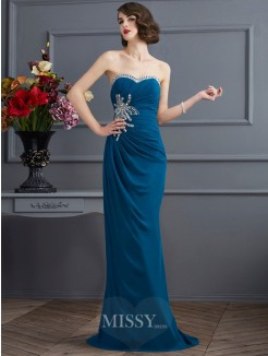 Sweetheart Sheath Sleeveless Sweep/Brush Train Chiffon Dress