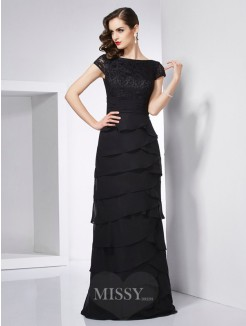 Sheath Short Sleeves Chiffon Scoop Floor-Length Dress