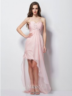 A-Line Sweetheart Sleeveless Applique Beading Chiffon Asymmetrical Dress