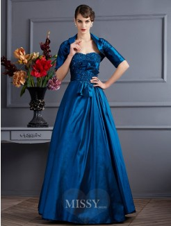 A-Line Sleeveless Sweetheart Applique Taffeta Dress