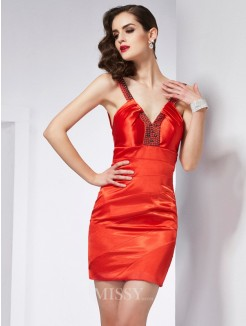 Sheath V-neck Sleeveless Elastic Woven Satin Mini Beading Dress