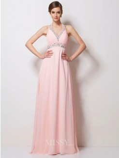 A-Line Halter Sleeveless Beading Floor-Length Chiffon Dress