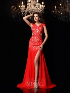 Trumpet/Mermaid Sleeveless High Neck Chiffon Sweep/Brush Train Lace Dresses
