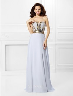 Empire Sleeveless Sweetheart Pleats Floor-Length Chiffon Dress