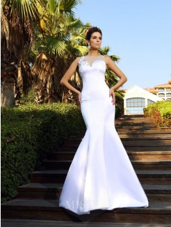 Trumpet/Mermaid Scoop Beading Sleeveless Court Train Satin Dresses