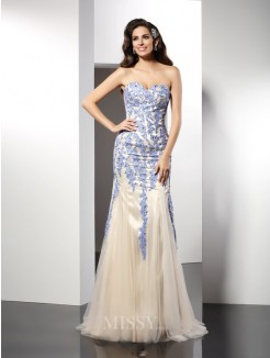 Trumpet/Mermaid Sleeveless Sweetheart Applique Sweep/Brush Train Tulle Dresses