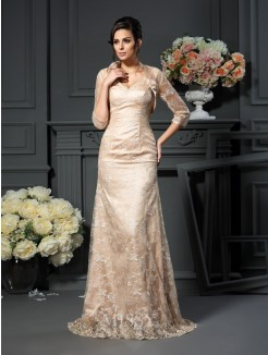 A-Line/Princess V-neck Lace Sleeveless Floor-Length Elastic Woven Satin Mother of the Bride Dress
