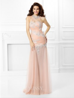 Trumpet/Mermaid Sleeveless Sweetheart Applique Lace Floor-Length Chiffon Dress