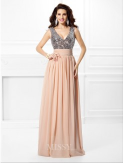 A-Line/Princess Sleeveless V-neck Paillette Floor-Length Chiffon Dress