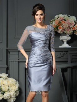 Sheath/Column Scoop Beading 1/2 Sleeves Knee-Length Satin Mother of the Bride Dress