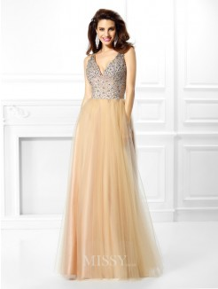 Ball Gown Sleeveless V-neck Beading Sequin Floor-Length Satin Dresses