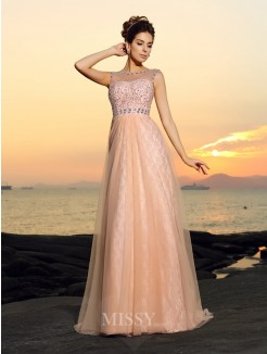 A-Line/Princess Bateau Floor-length Sleeveless Lace Chiffon Dresses