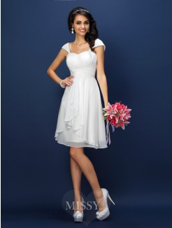 A-Line/Princess Straps Sleeveless Pleats Short/Mini Chiffon Bridesmaid Dresses