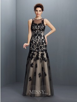 A-Line/Princess Bateau Sleeveless Applique Floor-Length Satin Dresses