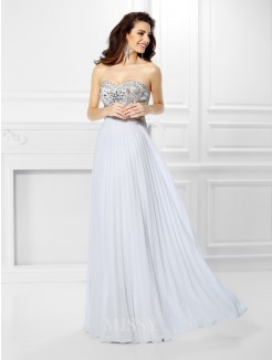 Empire Sleeveless Sweetheart Beading Floor-Length Chiffon Dress