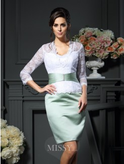 Sheath/Column V-neck 1/2 Sleeves Short/Mini Lace Satin Mother of the Bride Dress