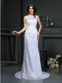 Sheath/Column Sleeveless High Neck Court Train Lace Wedding Dress