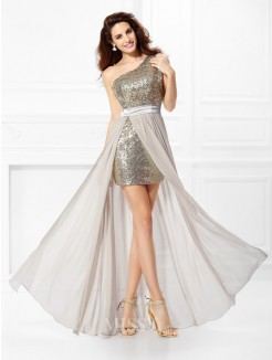 A-Line/Princess Sleeveless One-Shoulder Sequin Floor-Length Chiffon Dress