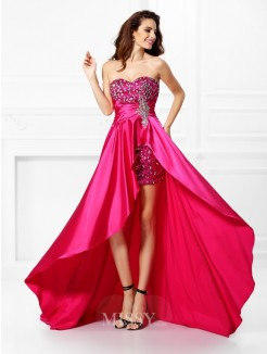 A-Line/Princess Sleeveless Sweetheart Beading Paillette Asymmetrical Elastic Woven Satin Dresses