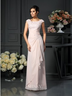 A-Line/Princess Sleeveless Scoop Floor-Length Lace Chiffon Mother of the Bride Dress