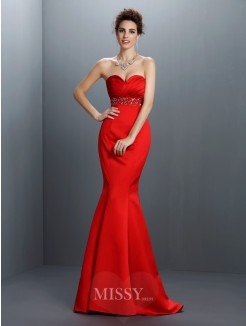 Trumpet/Mermaid Sleeveless Sweetheart Beading Sweep/Brush Train Satin Dresses