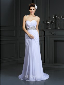 Sheath/Column Sleeveless Sweetheart Beading Chapel Train Chiffon Wedding Dress