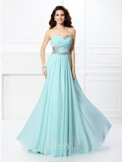 A-Line/Princess Sweetheart Beading Sleeveless Floor-Length Chiffon Dress