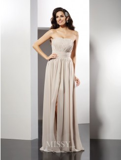 Sheath/Column Strapless Sleeveless Pleats Floor-Length Chiffon Dress