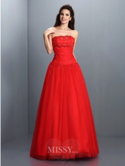 Ball Gown Strapless Sleeveless Beading Floor-Length Organza Dresses