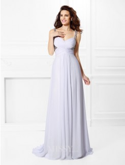 A-Line/Princess Straps Sleeveless Pleats Beading Floor-Length Chiffon Dress