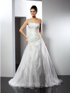 A-Line/Princess Sleeveless One-Shoulder Applique Chapel Train Satin Wedding Dresses