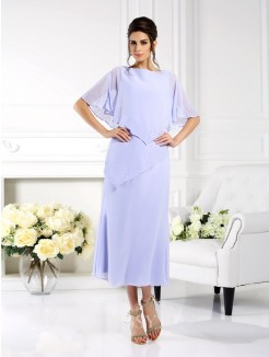 Sheath/Column Bateau 1/2 Sleeves Ankle-Length Chiffon Mother of the Bride Dress