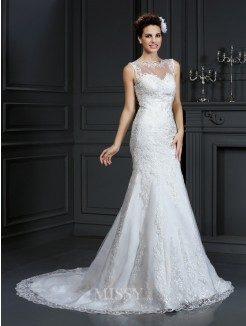 Sheath/Column Bateau Sleeveless Court Train Lace Satin Wedding Dresses