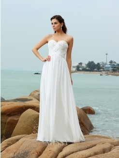 A-Line/Princess Sleeveless Sweetheart Sweep/Brush Train Chiffon Beading Wedding Gown