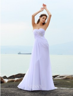 Sheath/Column Sleeveless Sweetheart Chiffon Chapel Train Beading Wedding Gown