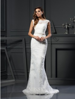 Trumpet/Mermaid Bateau Sleeveless Satin Lace Court Train Wedding Dresses