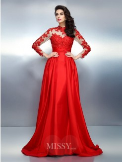 A-Line/Princess High Neck Long Sleeves Applique Sweep/Brush Train Satin Dresses