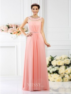 A-Line/Princess Bateau Sleeveless Beading Floor-Length Chiffon Bridesmaid Dresses