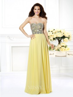 A-Line/Princess Strapless Sleeveless Beading Rhinestone Floor-Length Chiffon Dress