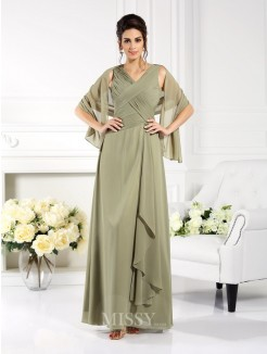 A-Line/Princess Sleeveless V-neck Pleats Floor-Length Chiffon Mother of the Bride Dress