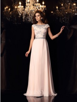 A-Line/Princess Bateau Short Sleeves Beading Floor-Length Chiffon Dress