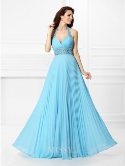 A-Line/Princess Halter Sleeveless Rhinestone Floor-Length Chiffon Dress