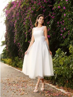A-Line/Princess Bateau Sash/Ribbon/Belt Sleeveless Satin Ankle-Length Wedding Dresses