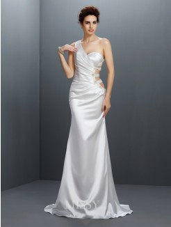 Trumpet/Mermaid Sleeveless One-Shoulder Beading Sweep/Brush Train Elastic Woven Satin Dresses
