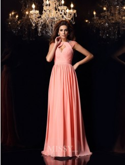 A-Line/Princess Sleeveless Chiffon Scoop Beading Sweep/Brush Train Dresses